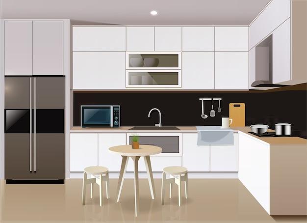家具や電化製品を備えたモダンなキッチンのインテリア