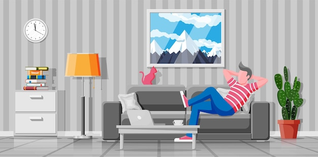 현대 거실의 인테리어입니다. 집에서 노트북 컴퓨터로 작업하는 소파에 있는 프리랜서. 소파에서 놀고 있는 남자. 청바지와 티셔츠를 입은 힙스터 캐릭터. 평면 벡터 일러스트 레이 션