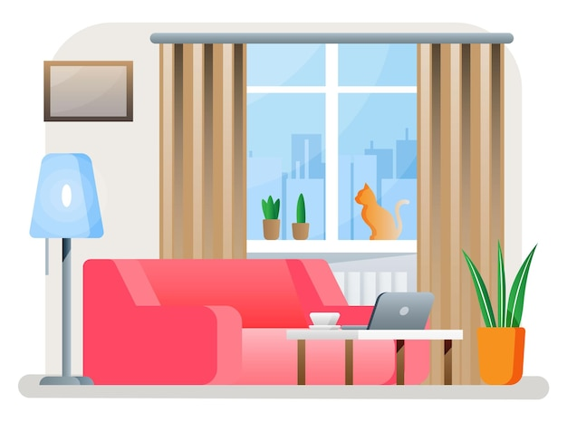현대 거실의 인테리어입니다. 소파, 식물, 노트북이 있는 책상, 램프. 커튼이 달린 창가에 앉아 있는 고양이. 미니멀한 디자인의 홈 데코. 평면 스타일 벡터