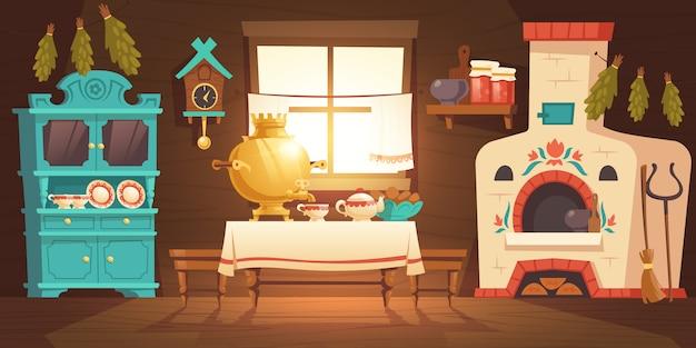 Интерьер древнерусской кухни, украинский дом