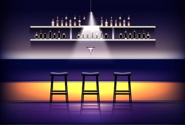パブ、バー、カフェのインテリア。上記のランプ、カクテル、スツール、アルコールボトルの棚が付いている空のバーカウンター。