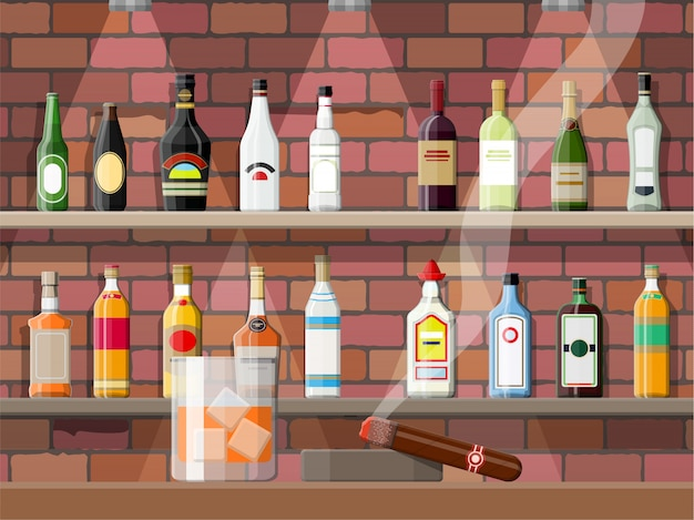 술집, 카페 또는 바의 인테리어.