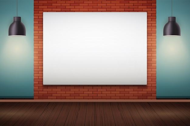 看板とビンテージペンダントランプと赤レンガの壁のインテリア。