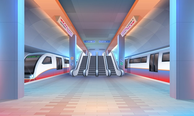 地下鉄や地下鉄の駅の内部