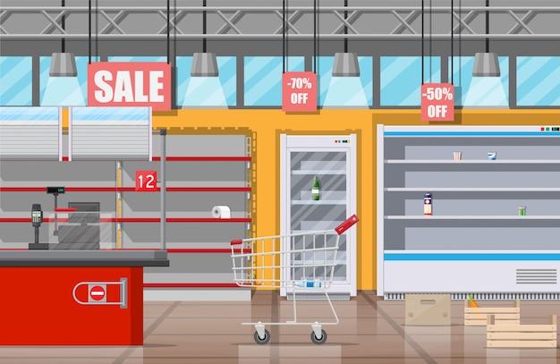 空の棚が付いているスーパーマーケットのインテリア。