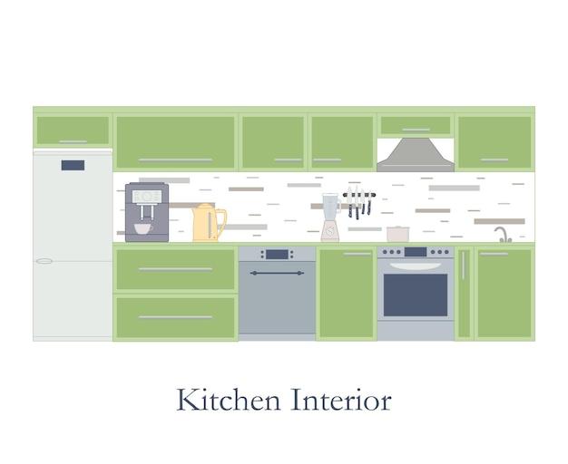 Интерьер кухни. плоский стиль. белый фон. кухонная дизайнерская мебель и аксессуары. кофеварка, электрочайник и блендер. кастрюля на плите. посудомоечная машина. векторная иллюстрация.