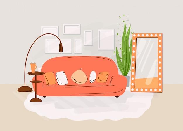 거실의 인테리어. 소파, 테이블, 책, 식물 및 장식 액세서리와 선반 아늑한 객실의 디자인 평면 그림. 아늑한 거실 그림