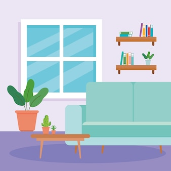 ソファ、テーブル、鉢植え、装飾が施された自宅のリビングルームのインテリア。