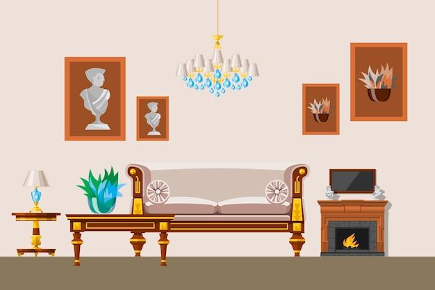 라운지와 고전적인 스타일의 가구 일러스트와 함께 오래 된 빅토리아 스타일의 거실의 인테리어.