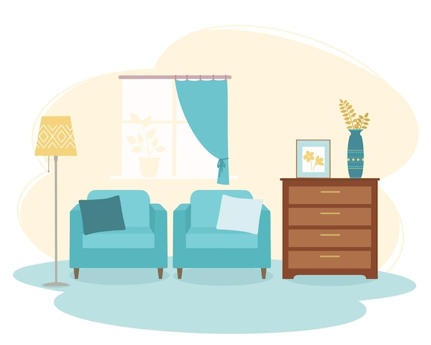 서랍장과 2 개의 안락 의자가있는 거실 내부