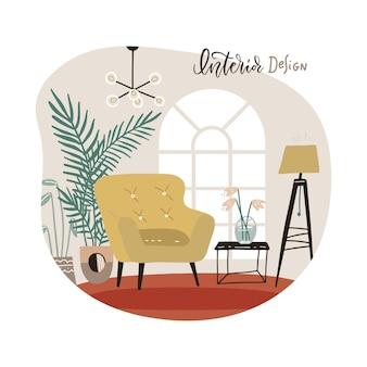 スカンジナビアスタイルのミニテーブルスタイリッシュなアパートメントを備えた家具付きのモダンなアームチェアを備えたリビングルームのインテリア。平らな手描きの孤立したベクトル図