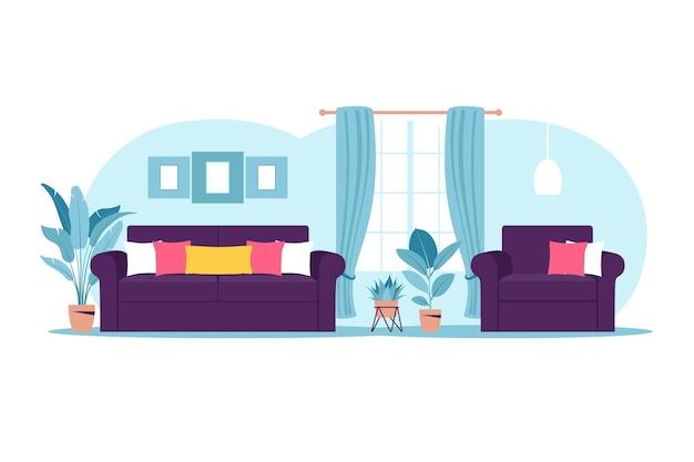 Интерьер гостиной с мебелью. современный диван и кресло с мини-столиком. плоский мультяшный стиль. векторная иллюстрация.