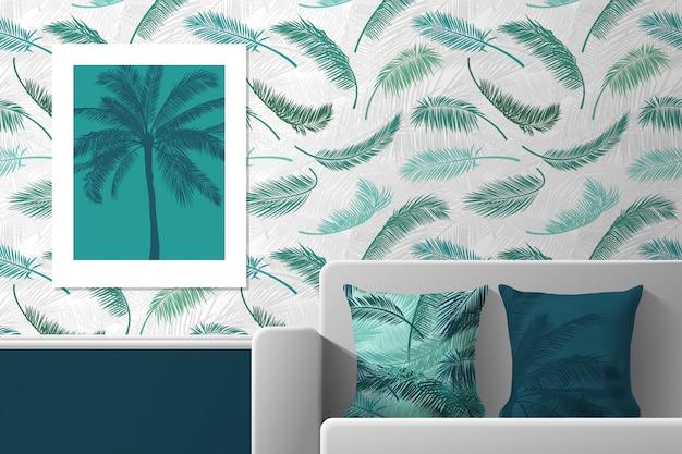 ポスター、ソファ、プリント付きの枕が付いている部屋のインテリア。室内装飾用のシームレスパターンとプリントのパターン。 。