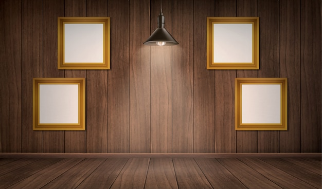 フレームとランプと木製の部屋のインテリア