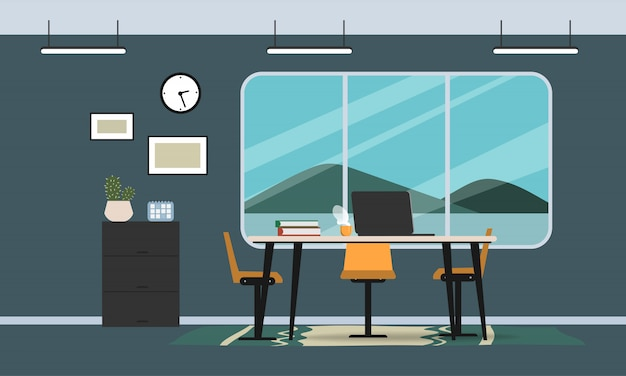 Interior office room design modern style. workplace and furniture flat design.