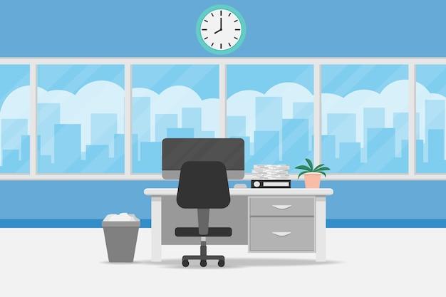 책상과 창 인테리어 사무실 룸