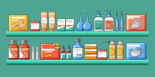 Interior of the pharmacy, shelves with medical medicines.