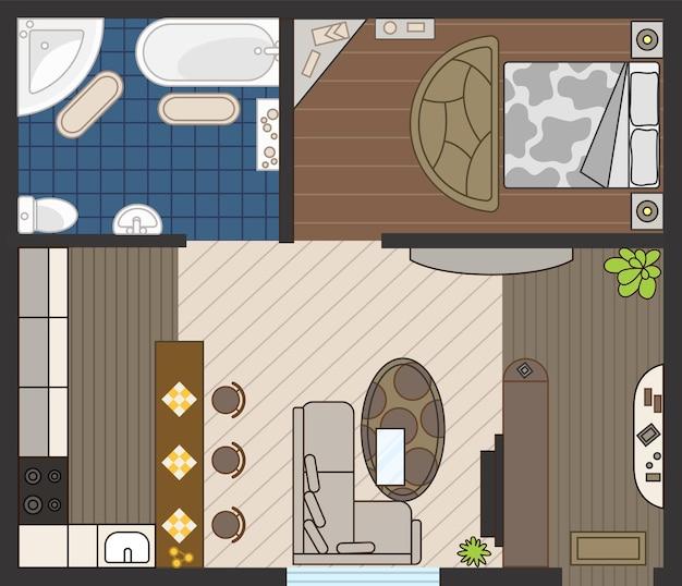 색상의 인테리어 계획. 자세한 아파트 가구 오버 헤드 평면도. 평면 스타일의 객실입니다. 집 바닥 디자인 프로젝트.