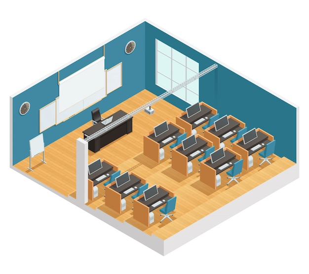 Interior poster of modern classroom with computers desks chalkboard and magnetic board