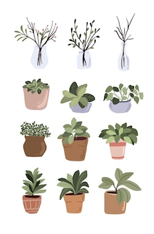 Interior potted plants decor elements set sticker green thumb for bullet journal