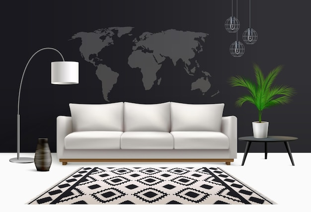 Интерьерная реалистичная композиция с белым диваном-лампой и горшечным цветком с обоями с картой мира и ковром
