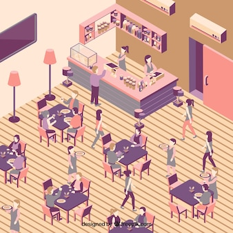 Interior of restaurant with people