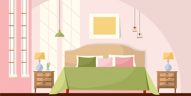 Interior room concept illustration. bedroom interior with a bed, nightstands, lamps, picture and large windows with lights of a sun. cozy elegant furniture.