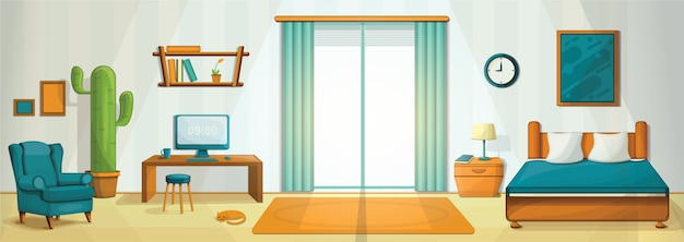 Interior room concept illustration, cartoon style