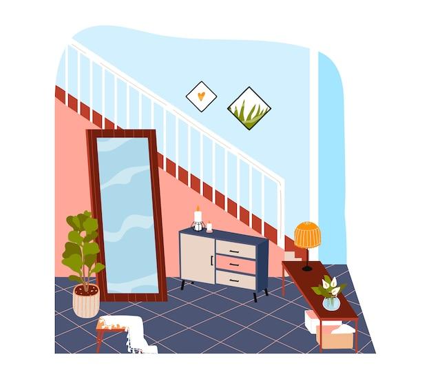 家の中の部屋、階段と大きな鏡、デザイン漫画イラスト、白で隔離されるモダンなアパートメント。ランプ、花、その他の家具、植木鉢のポットとコーヒーテーブル。