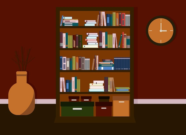 The interior of the room is in dark colors. in the interior there is a library with a bookcase with many books.