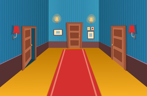 Interior room with doors, lamp and paintings  vector illustration of cartoon corridor