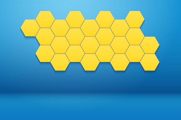 Interior room with honeycomb hexagon wall decor. blue wall and yellow hexagon ornament.