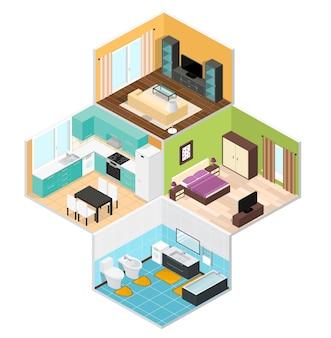 Внутренние комнаты дома на изометрической проекции