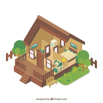 Interior rustic in isometric style