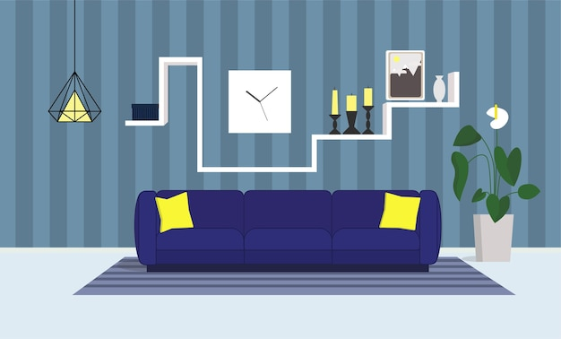 Interior salon with blue sofa