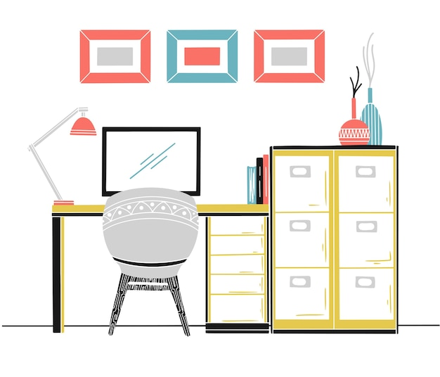 Interior in scandinavian style. workplace with a computer. sketch of the interior.  illustration. Premium Vector