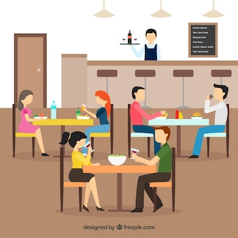 Interior scene of a restaurant in flat design