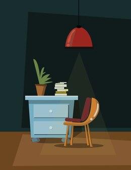 Interior scene vector illustration