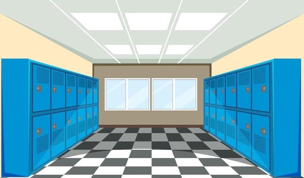 Interior of a school locker room