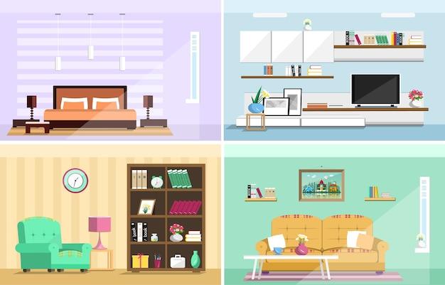 家の部屋のインテリアセット。スタイリッシュなリビングルーム、ベッドルーム。