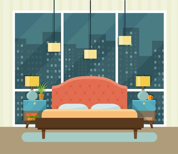 창가에 침대가 있는 내부 공간 침실. 벡터 평면 그림