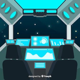 Interior spaceship design background with flat deisgn