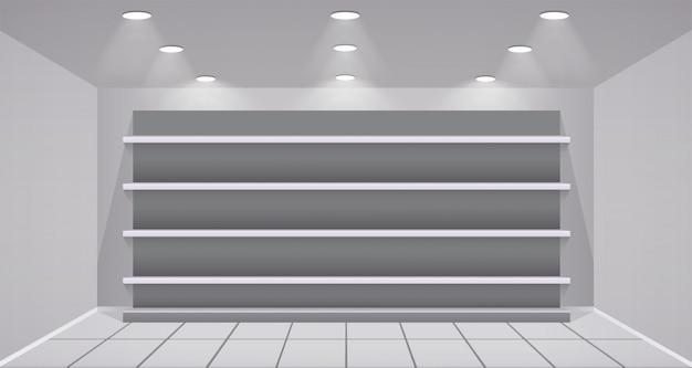Interior store with empty shelves