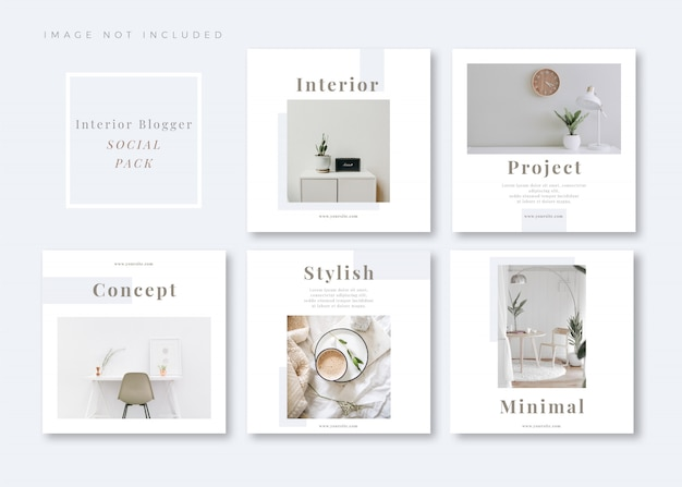 Interior style clean and simple square social media template