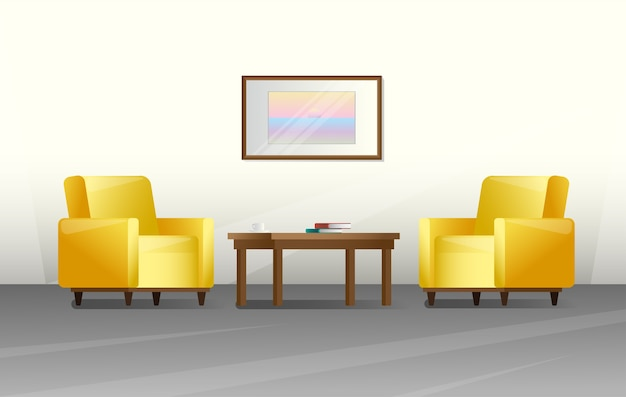Interior in a  style. furniture for living room.  illustration