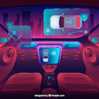 평면 디자인으로 미래의 자율 자동차의 인테리어보기