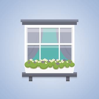 インテリアウィンドウの図。建築の屋外または外観、建物、家のテーマ。