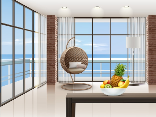 Interior with big windows, armchair, lamp, and table in eco-minimalism style