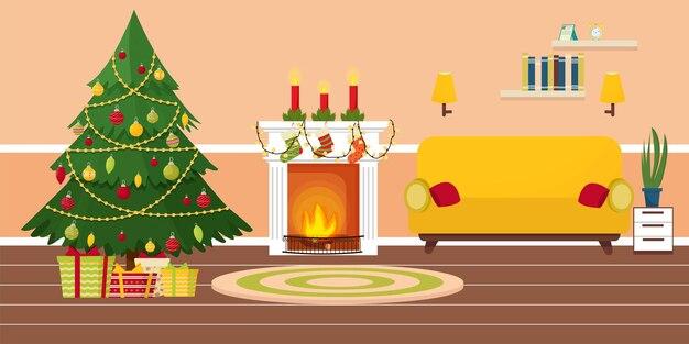 暖炉のあるインテリアクリスマスツリーの装飾が明るい色のリビングルームを提示します
