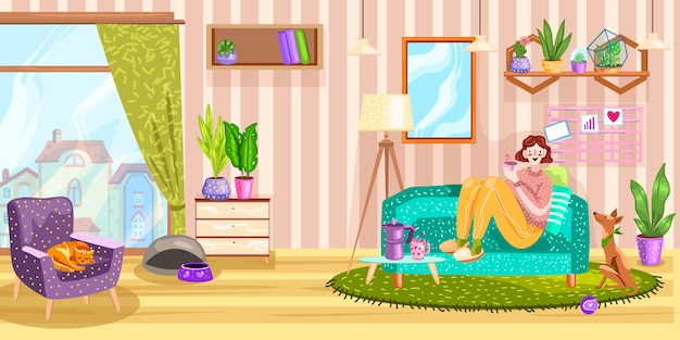 Interior with girl sitting on the sofa, carpet, mirror, dog, cat, window and armchair.